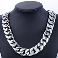 Super Heavy Thick 24mm Mens Silver Tone Curb Cuban Link Flat Round 316L Stainless Steel Chain Personalize Size Necklace LHN33
