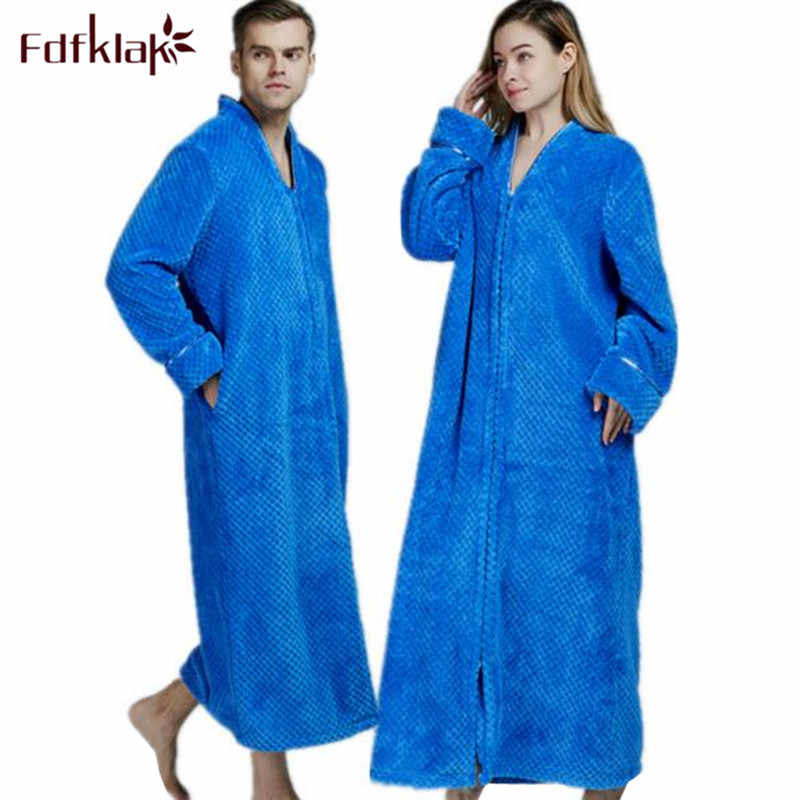 Detail Feedback Questions about Fdfklak Thicken winter robe women bathrobe  long sleeve flannel warm robes couple s sleepwear robe female long bathrobes  ... 7252fdfc1