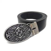 Celtic knot Stile vintage Mens cinghia di cuoio ovale fibbia della cintura in metallo cinture da cowboy per i jeans Nero di cuoio DELLUNITÀ di elaborazione degli uomini della cinghia di alta qualità