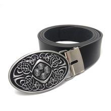 Celtic knot Style vintage Mens leather belt oval belt buckle metal cowboy belts for jeans Black PU leather belt men High quality