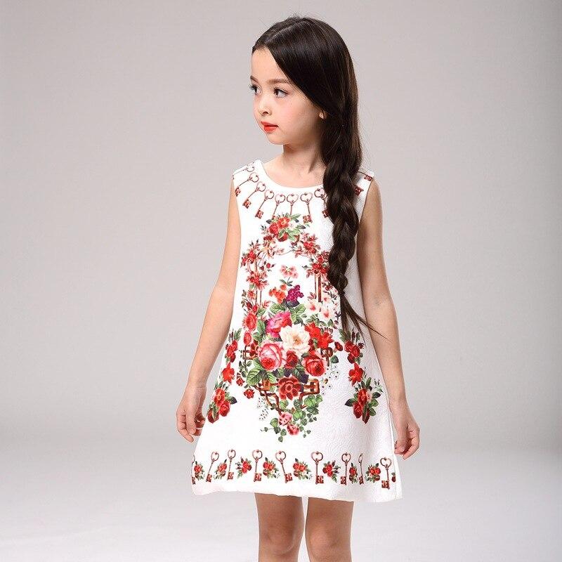 New 2016 Girls Summer Dress Kids Clothes Girls Party Dress Children Clothing Pink Princess Flower Girl Dresses Hot Sale