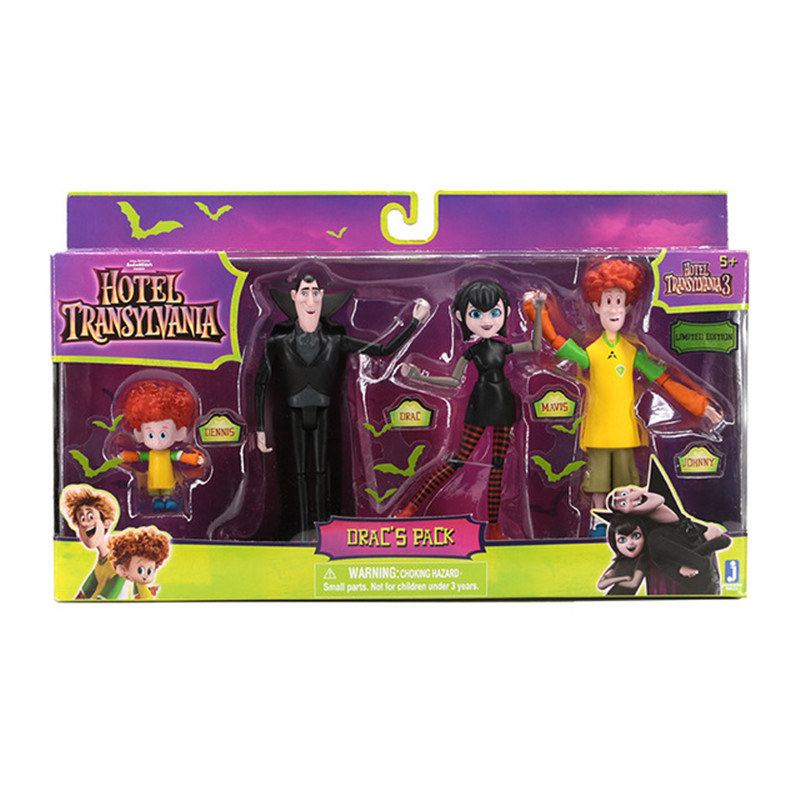 4pcs/set Hotel Transylvania 3 Dracula Mavis Johnny Genndy Tartakovsky Series PVC Action Figure Model Gifts Toys Brinquedos L2608