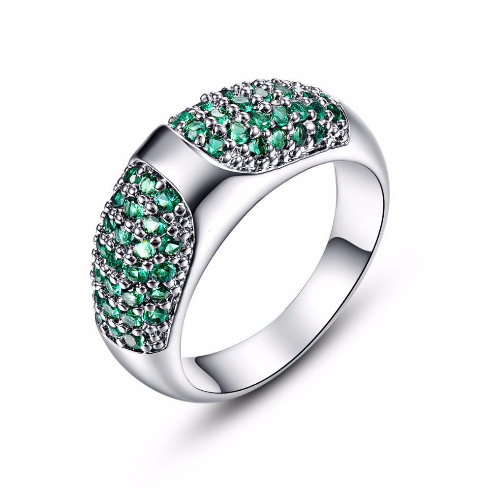New Silver Rings For Women Fashion Vintage Party Jewelry Gift Elegant Green  Stone Cubic Zirconia Engagement Ring Factory Price