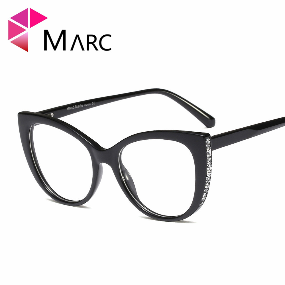 MARC Ladies Cat Eye Glasses Frames For Women diamond Brand Designer Optical EyeGlasses Red Fashion Eyewear Trend 95141 in Women 39 s Eyewear Frames from Apparel Accessories