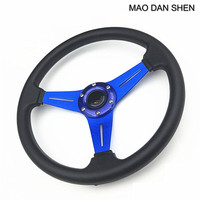 Car Styling Universal Fits Racing Sport PU 350MM 14 Alloy Steering Wheel Black Red Blue Gold