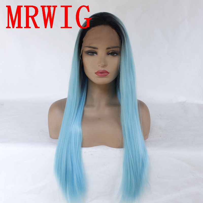MRWIG 26in Long Straight Synthetic Hair Lace Front Ombre Blue Cosplay Wig for Woman