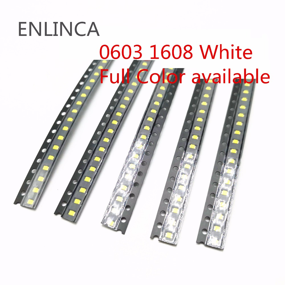 100pcs 0603 <font><b>1608</b></font> <font><b>SMD</b></font> <font><b>LED</b></font> Chip 2-3V Blue Red White Green Yellow pink Purple UV orange Light Emitting Diode SMT Light-Emitting image