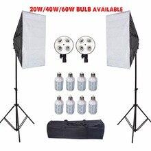 Fotoğrafçılık LED Softbox Tripod standı fotoğraf stüdyosu yumuşak kutu çadır aydınlatma kiti kamera difüzör E27 lamba tutucu aksesuarları