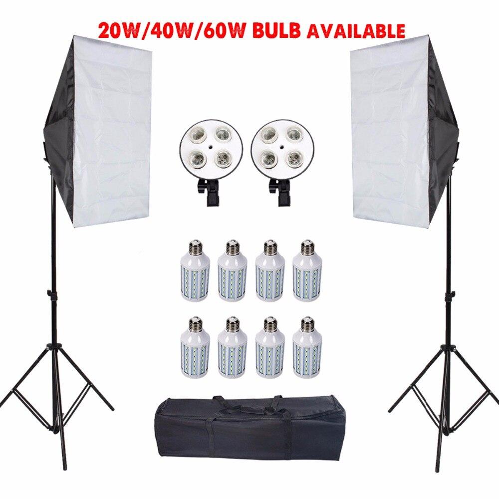 Photographie LED Softbox avec trépied support Photo Studio boîte souple tente lumières Kit pour caméra diffuseur E27 porte-lampe accessoires