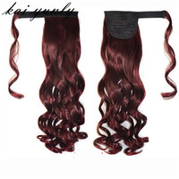 Kai Yunly 1PC Real Clip In Human Hair Extension Curly Pony Tail Wrap Around Ponytail Red