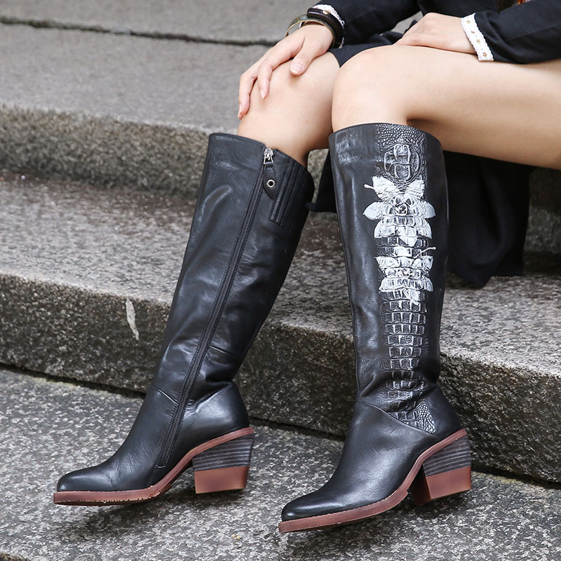 2019 vallu 여성 니 하이 부츠 하이힐 정품 가죽 꽃 수제 빈티지 블록 힐 사이드 지퍼 여성 부츠-에서무릎 - 하이 부츠부터 신발 의  그룹 1