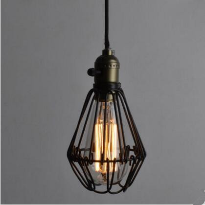 60W American Style Loft Industrial Pendant Lighting Fixtures Metal Cage Shade Hanging Light Lamparas De Techo Vintage Lamp new loft vintage iron pendant light industrial lighting glass guard design bar cafe restaurant cage pendant lamp hanging lights