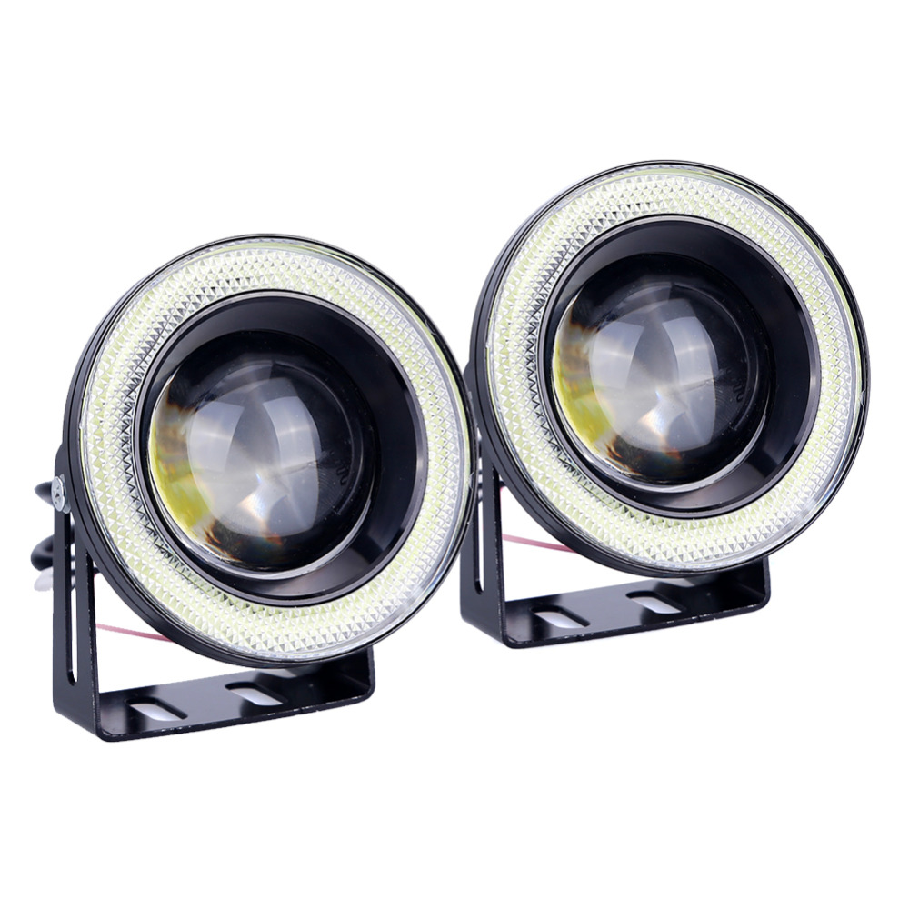где купить  2pcs Car Cob Angel Eyes Fog Light Led DRL Daytime Running Lamp Lens Projector Halo Ring Waterproof Xenon White Blue 30W 12V SUV  дешево