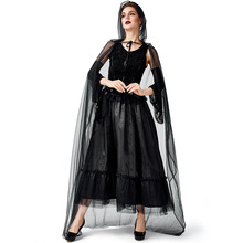 Umorden Halloween Gothic Black Sorceress Costume with Mesh Hooded Cape Carnival Purim Party Cosplay Fancy Dress