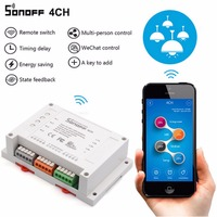 2pcs Sonoff 4CH Wifi Smart Switch Universal Remote Intelligent Switch Interruptor 4 Channel Din Rail Mounting