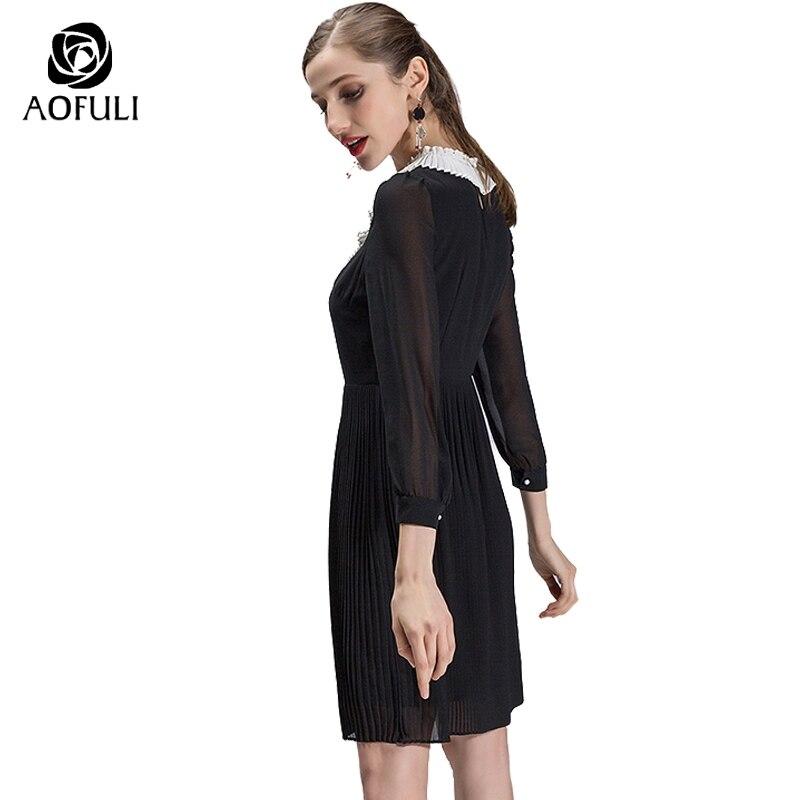 AOFULI s xxxl 4xl 5xl grande taille femmes vêtements marque printemps robe plissée noir blanc Vintage à manches longues robe noire 9029-in Robes from Mode Femme et Accessoires    2
