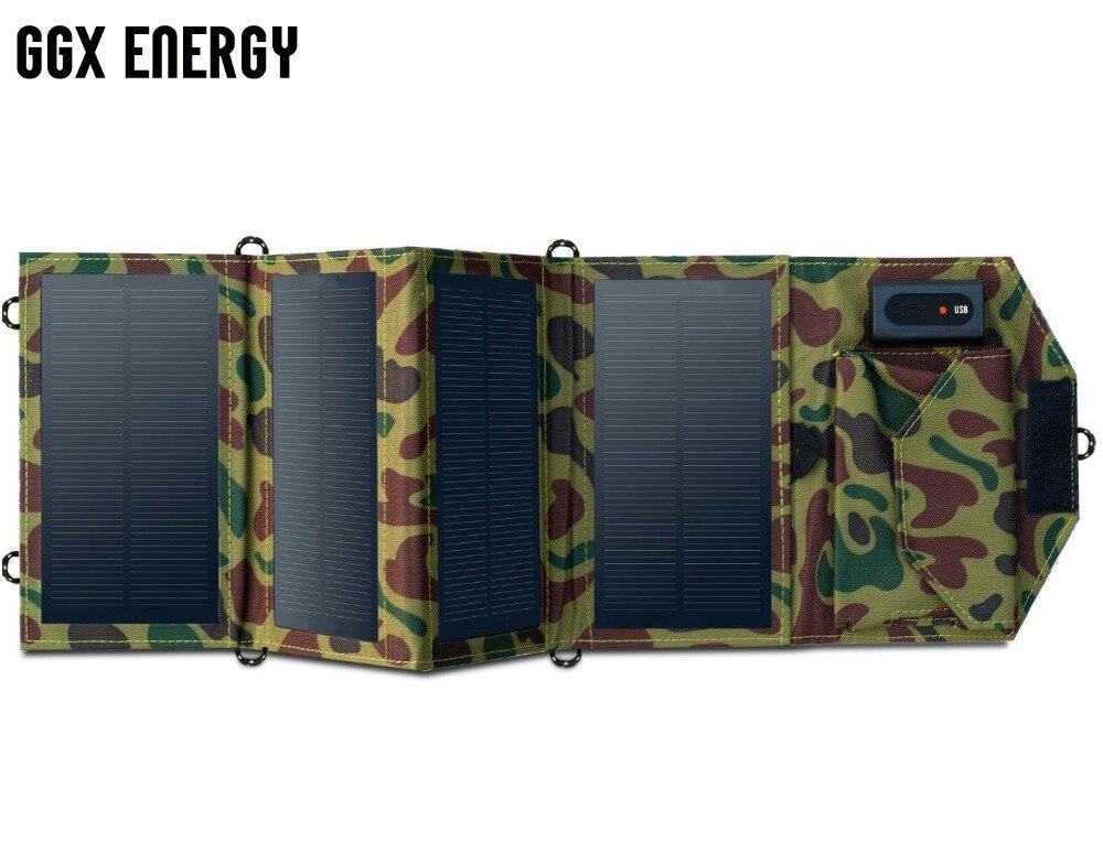 Cargador Solar portátil GGX ENERGY 8 W para teléfono móvil iPhone plegable Panel Solar Mono + cargador de batería Solar USB plegable