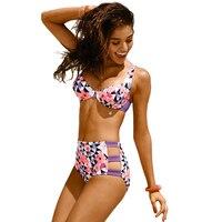High Waist Swimsuit 2017 New Bikinis Women Push Up Bikini Set Swimwear Vintage Retro Floral Print