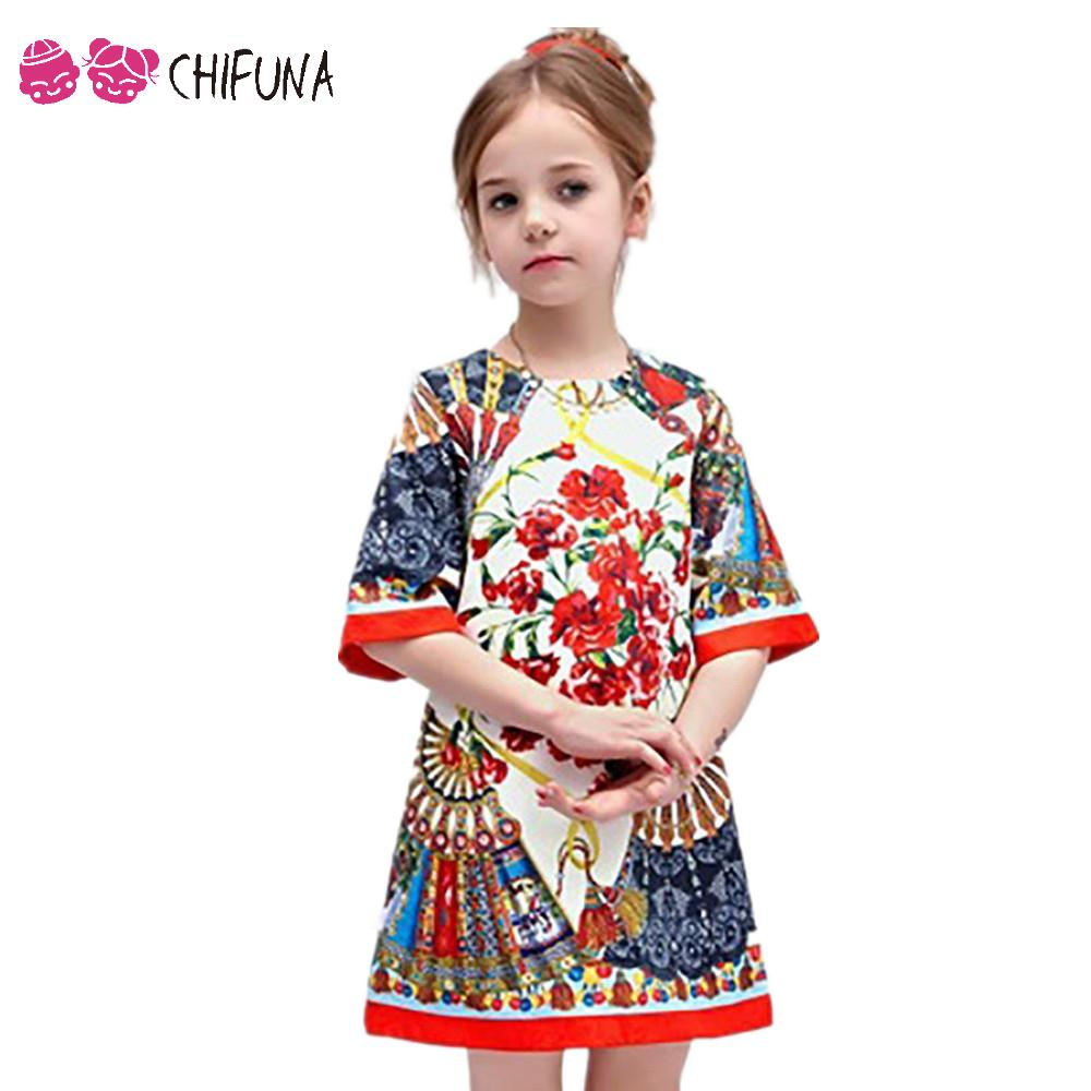2-10Y Baby Girl Dress Floral Pattern A-Line Princess Dress Girls European Style Baby Dress Brand Designer Kids Clothes baby girls dress rose floral a line princess dress girls european style baby girl clothes kids clothes 2 10y flower girl dresses
