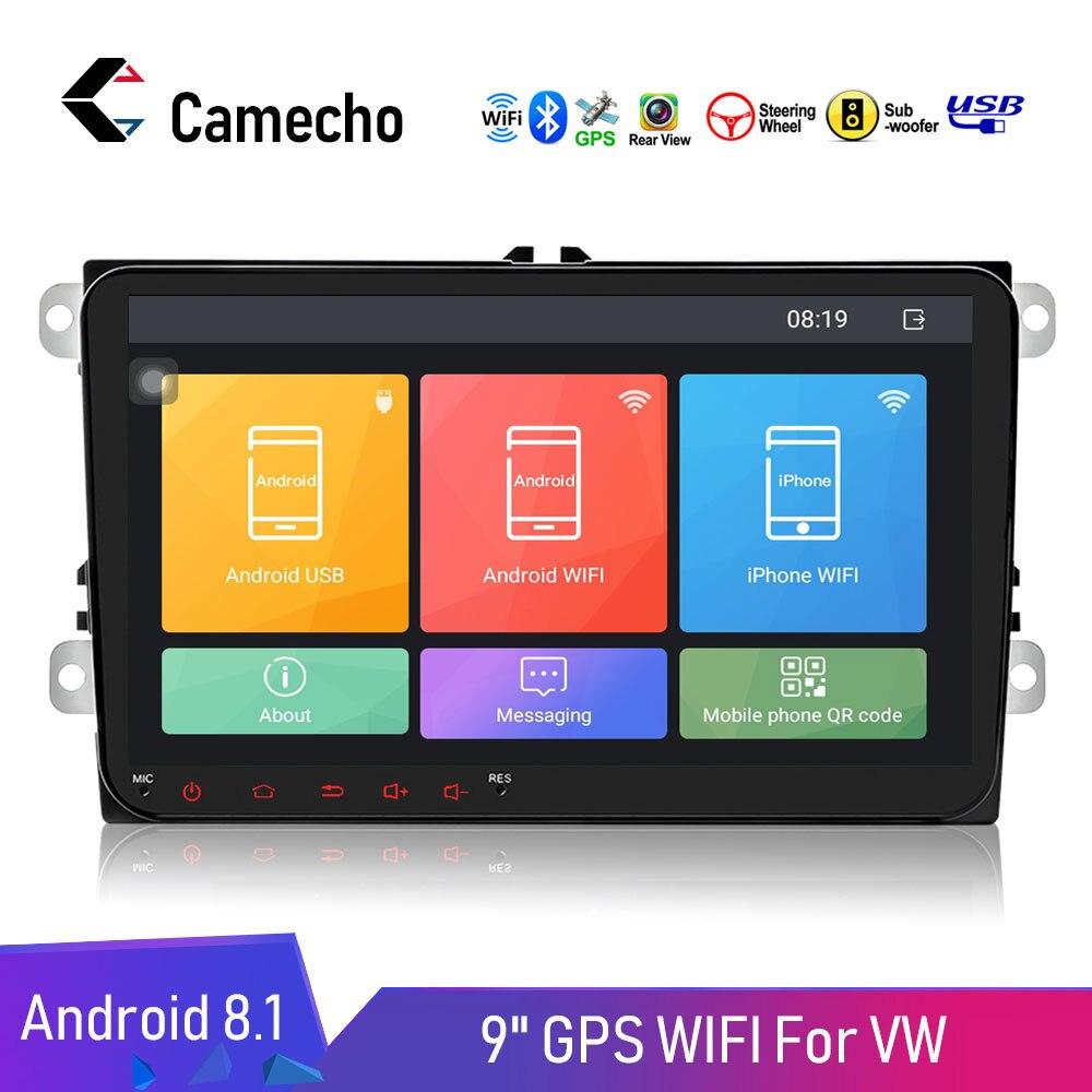 Autoradio Camecho 2 Din Android 8.1 GPS lecteur multimédia autoradio pour Volkswagen/VW/Passat/POLO/GOLF/Skoda/Seat/Leon Radio