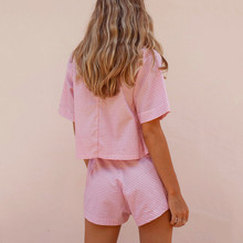 V-neck short sleeve top shorts Plaid two piece set SF