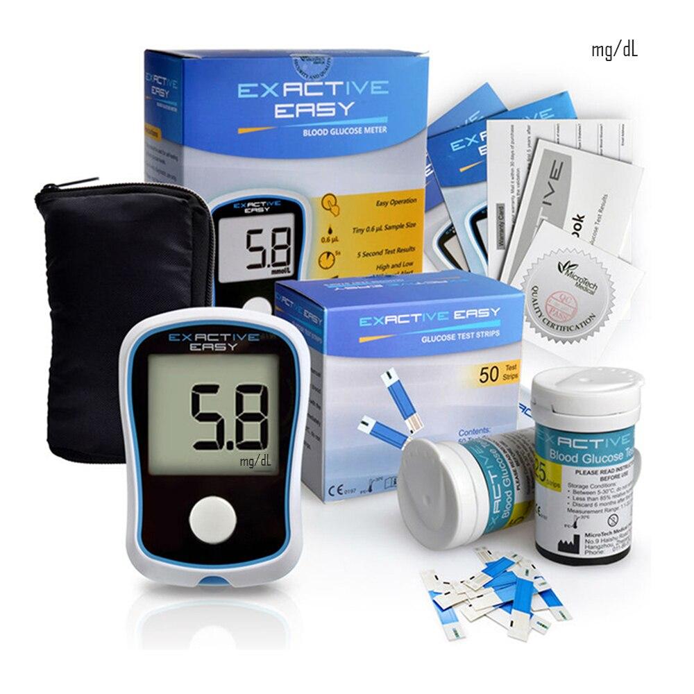 Семейный глюкометр мг/дл, тест на диабет, монитор для измерения уровня сахара в крови, 50 полосок, иглы, ланцет, ручка для взятия образцов кров...