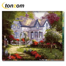 RIHE 2018 Holiday Resort Drawing By Number DIY Flower Garden Painting Handwork On Canvas Oil Art Coloring Home Decor