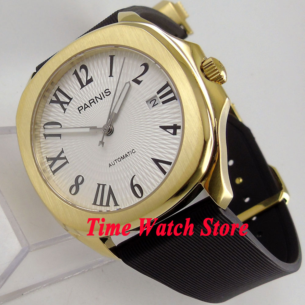 Parnis 40mm gold square case white dial luminous rubber strap 21 jewels MIYOTA Automatic movement Men's watch men 892 40mm parnis white dial vintage automatic movement mens watch p25