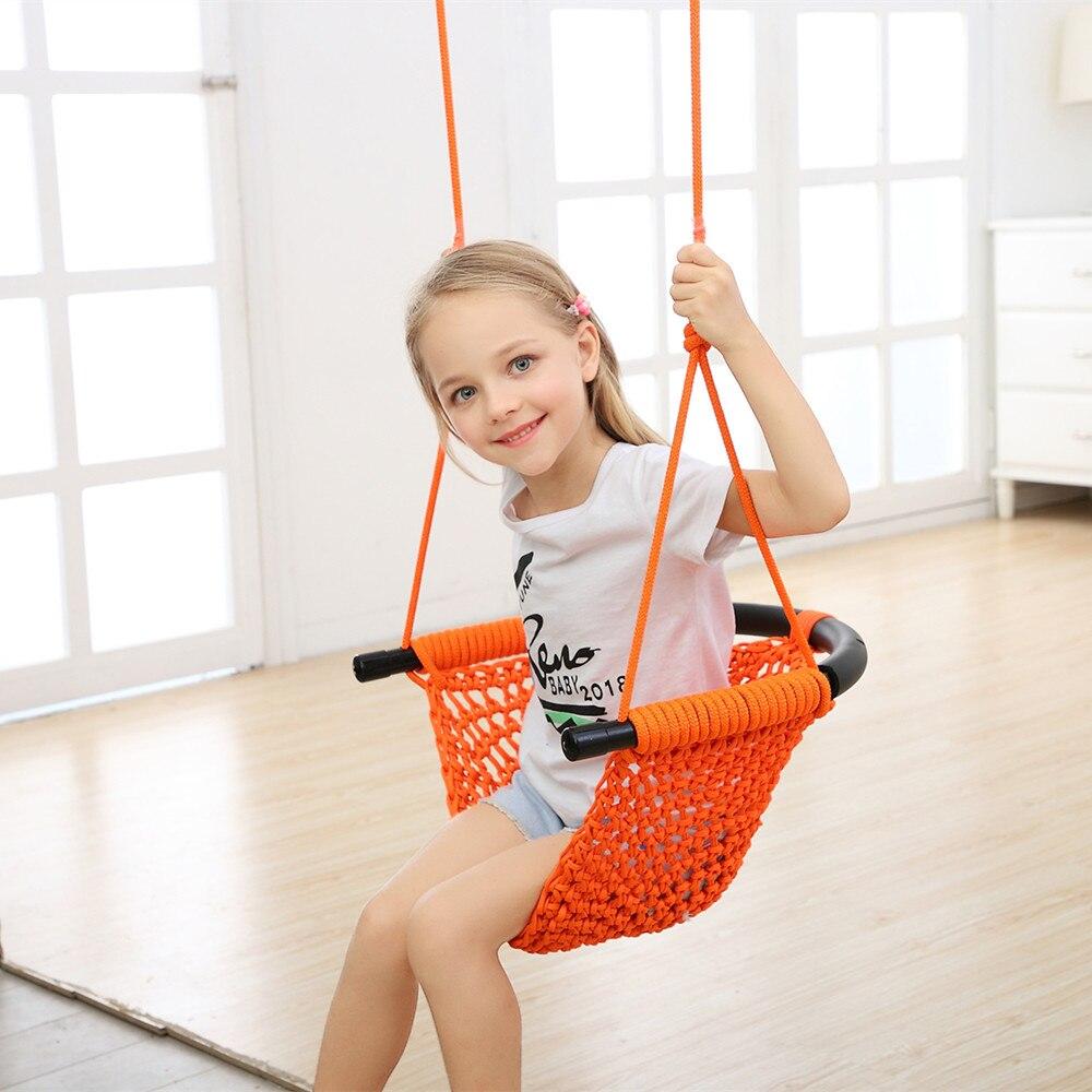 1 pièces d'enfants suspendus chaise balançoire hamac intérieur extérieur Patio chaise balançoire enfant jouets Max portant 300KG - 6