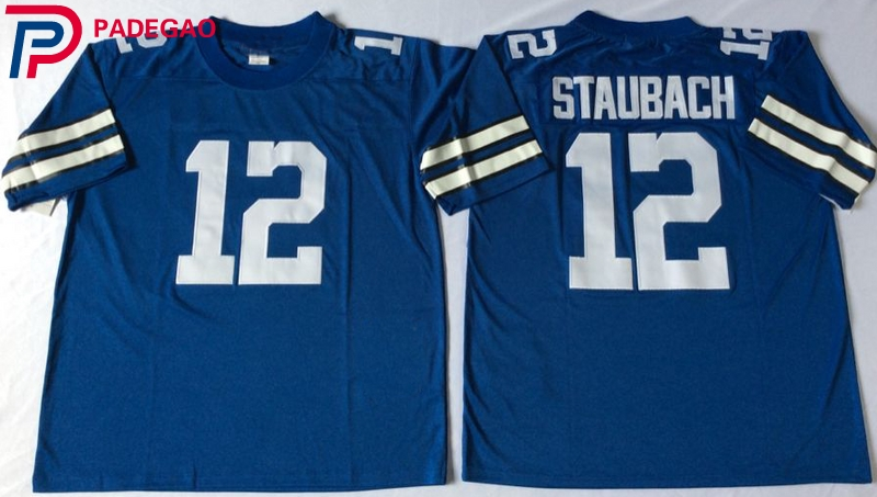 0d3aa2644 Embroidered Logo 12# Roger Staubach throwback high school FOOTBALL JERSEY  blue white for fans gift cheap 1104-5