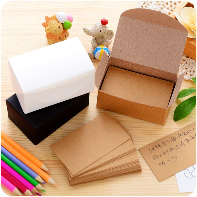 100 Pcs/Set Blank/White/Brown Writing Kraft Paper Memo Pad Business Paper  Message Cards Stationery Stickers Memo Pads