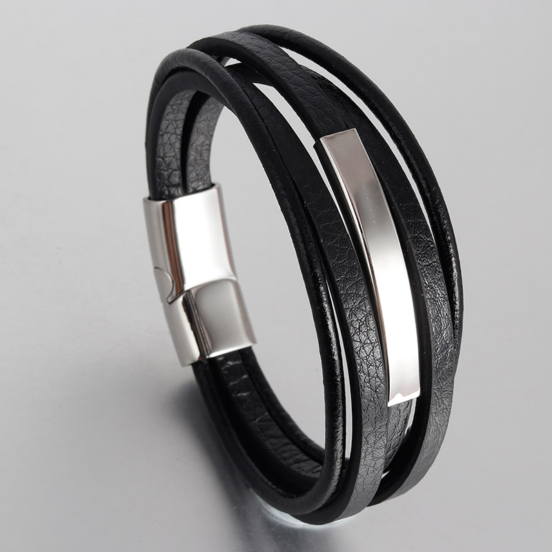 Fashion Multilayer Genuine Leather Bracelet for Men Jewelry Stainless Steel Bangle Punk Braid Black Chain Magnetic