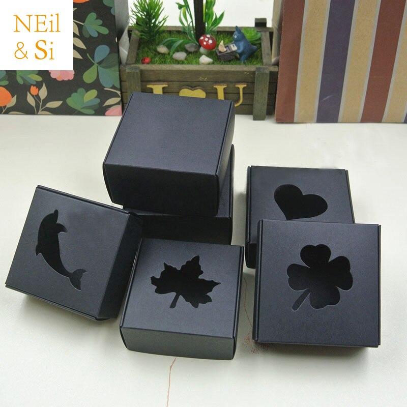 hollow black paper box gift favor manual craft handmade
