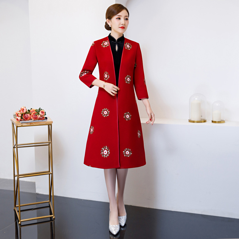 Spring Knee Length 2PC Cheongsam Fashion Chinese style Dress Womens Polyester Qipao Slim Party Dresses Lady Button Vestido S-3XL