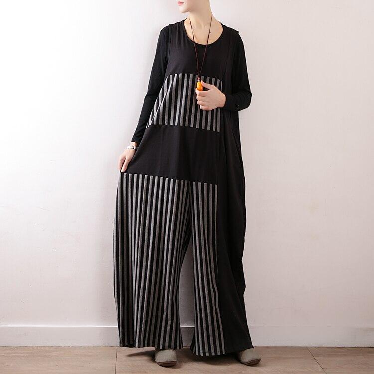 Femmes Jambe O Salopette Pantalon cou Vintage Tenues Mode Large Rayé 2019 Casual Barboteuse Sans Manches Patchwork EA81wTqPx5