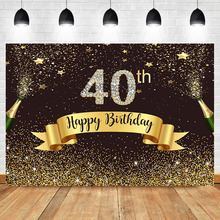 Neoback Happy 40th Birthday Backdrop Gold Glitter Bokeh Shiny Photo Background Diamond Beer Celebrate Banner Backdrops