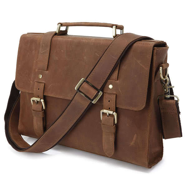 Nesitu Vintage Small Brown Genuine Leather Crazy Horse Leather Briefcase Men Cowhide Messenger Bags Portfolio M6076