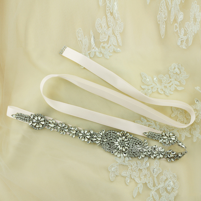 Wedding Accessories Cinturon De Novia Beaded Crystal Bridal Belts For Wedding Dresses White Ivory Cheap Wedding Belts Sash