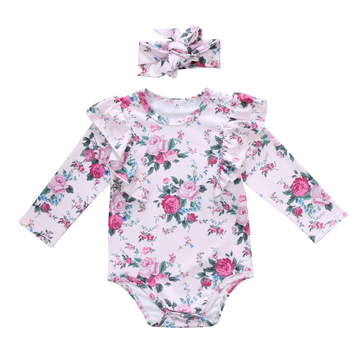 Baby Girl Vintage Floral Romper Jumpsuit+Headband Clothes Playsuit Outfit Comfortable Clothes
