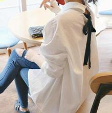 J812#9561 European style 2016 summer new women's turn-down collar solid color long sleeved shirts loose back lacing female Tops