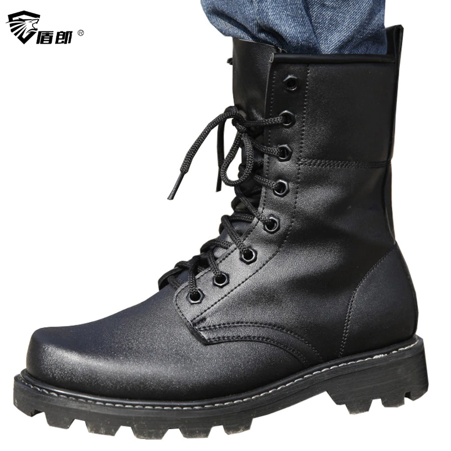Men Military Tactical Boots Autumn Leather Black Special Force Botas Ankle Combat Boots Safety Work Shoes Army Motorcyble Boots