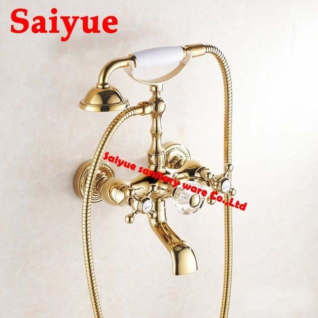 Luxury Antique Style Gold Color Bath Tub Faucet knob Handle ...