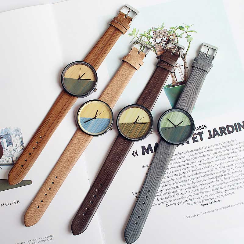Vintage Wooden Relojes Quartz Women Watches Casual Wooden Color Leather Strap Lovers' Watch Wood Wristwatch Relogio Masculino