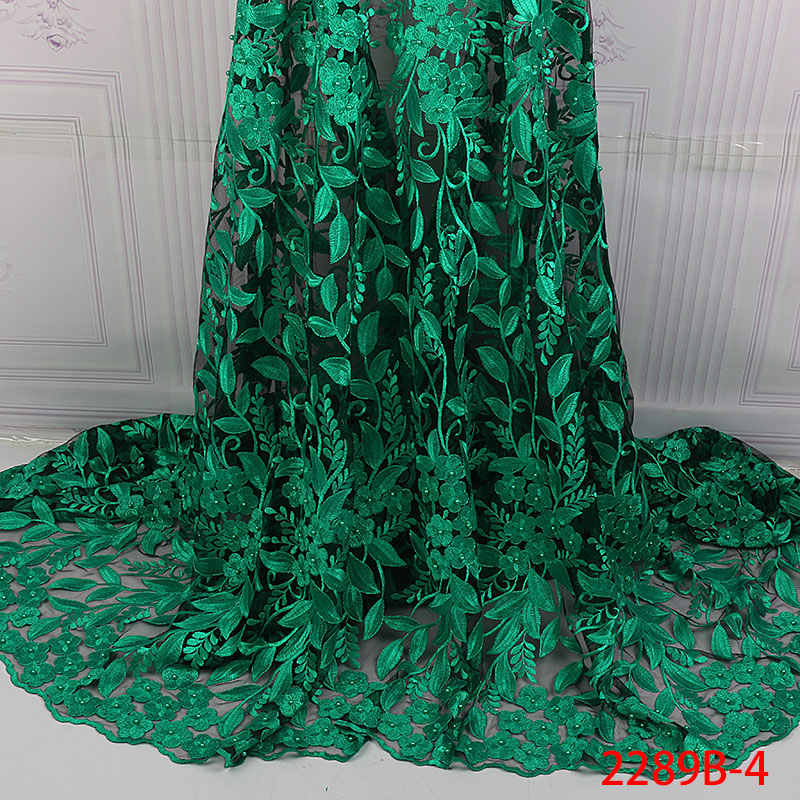High Quality Green Nigerian Lace Fabrics 2018 With Beads African Lace Fabric Embroidered Tulle Mesh French