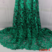 High Quality Green Nigerian Lace Fabrics 2018 With Beads African Lace Fabric Embroidered Tulle Mesh French Lace Fabric XZ2289B