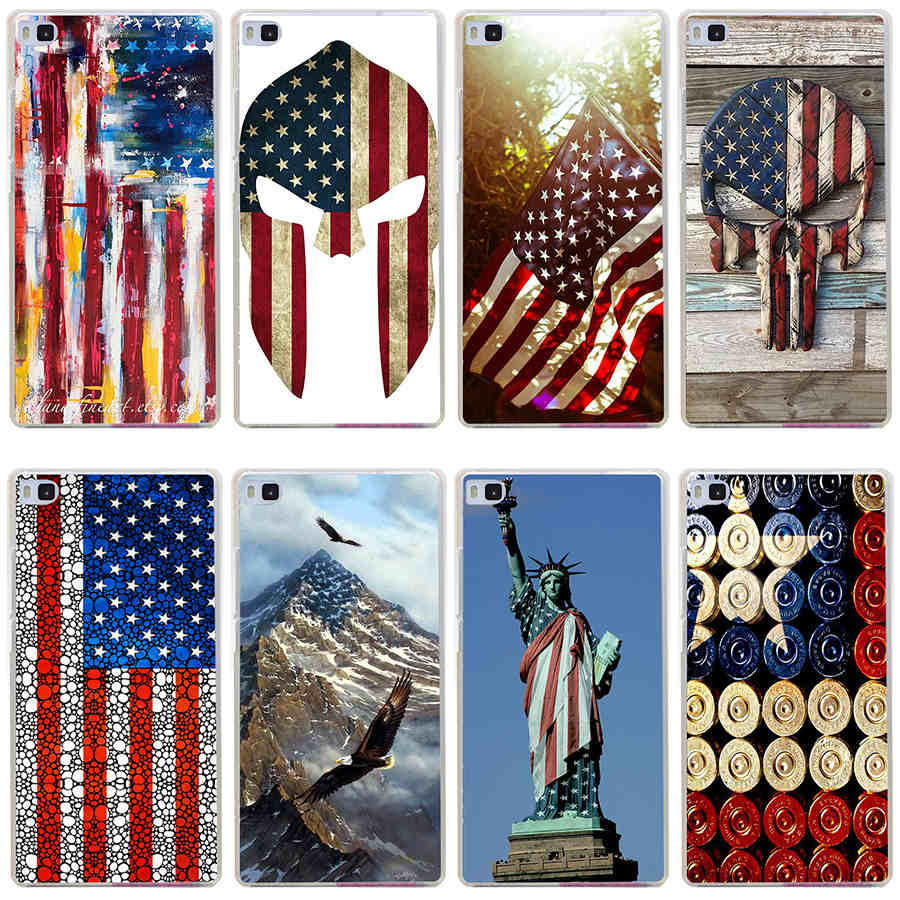 huawei in usa. 14gg american flag usa ston hard transparent cover for huawei p7 p8 p9 lite honor in