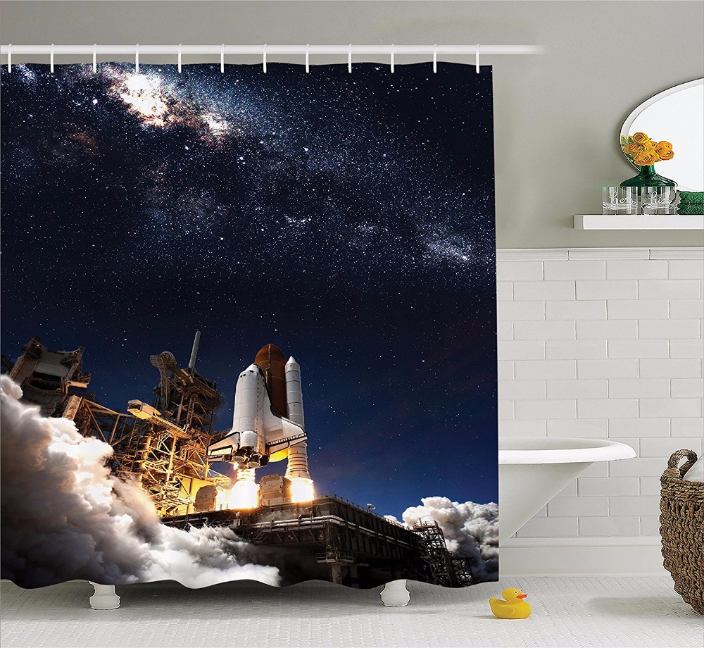 High Quality Arts Shower Curtains Starry Sky Series Rocket Launch Pad Galaxy Camouflage Sky Bathroom Decorative Shower Curtains