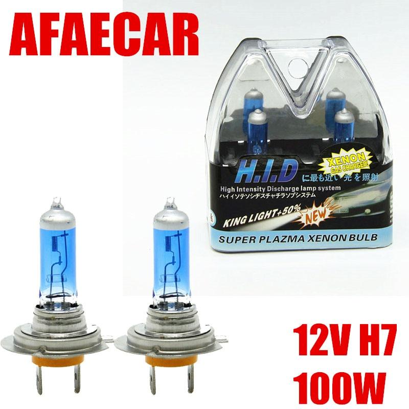 AFAECAR 2pcs H7 100W  Super Bright White Fog Lights Halogen Bulb Car Light Source