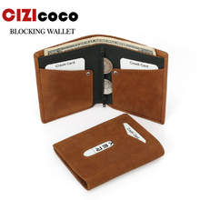 100% Genuine Leather Men Wallet Short Bifold Casual Soild Wallets With Coin Pocket Purses Male