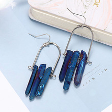 1 Pair Women Fashion Natural Bright and Colorful Stone Hook Drop Dangle Unique Earrings